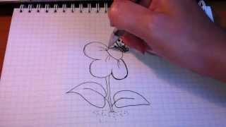 Простые рисунки #39. Цветочек с бабочкой(Как нарисовать простой рисунок обычной гелевой ручкой за несколько минут. Спасибо, что смотрите мои видео...., 2013-06-04T08:06:16.000Z)