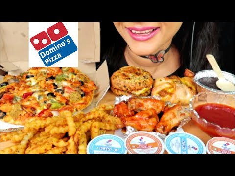 ASMR:DOMINOS PIZZA,CHICKEN WINGS (EATING SHOW) CHEESY PIZZA