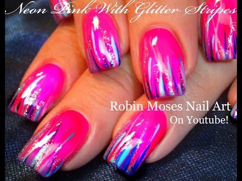 Easy Hot neon pink nails | Glitter STRIPED Nail Art Design Tutorial