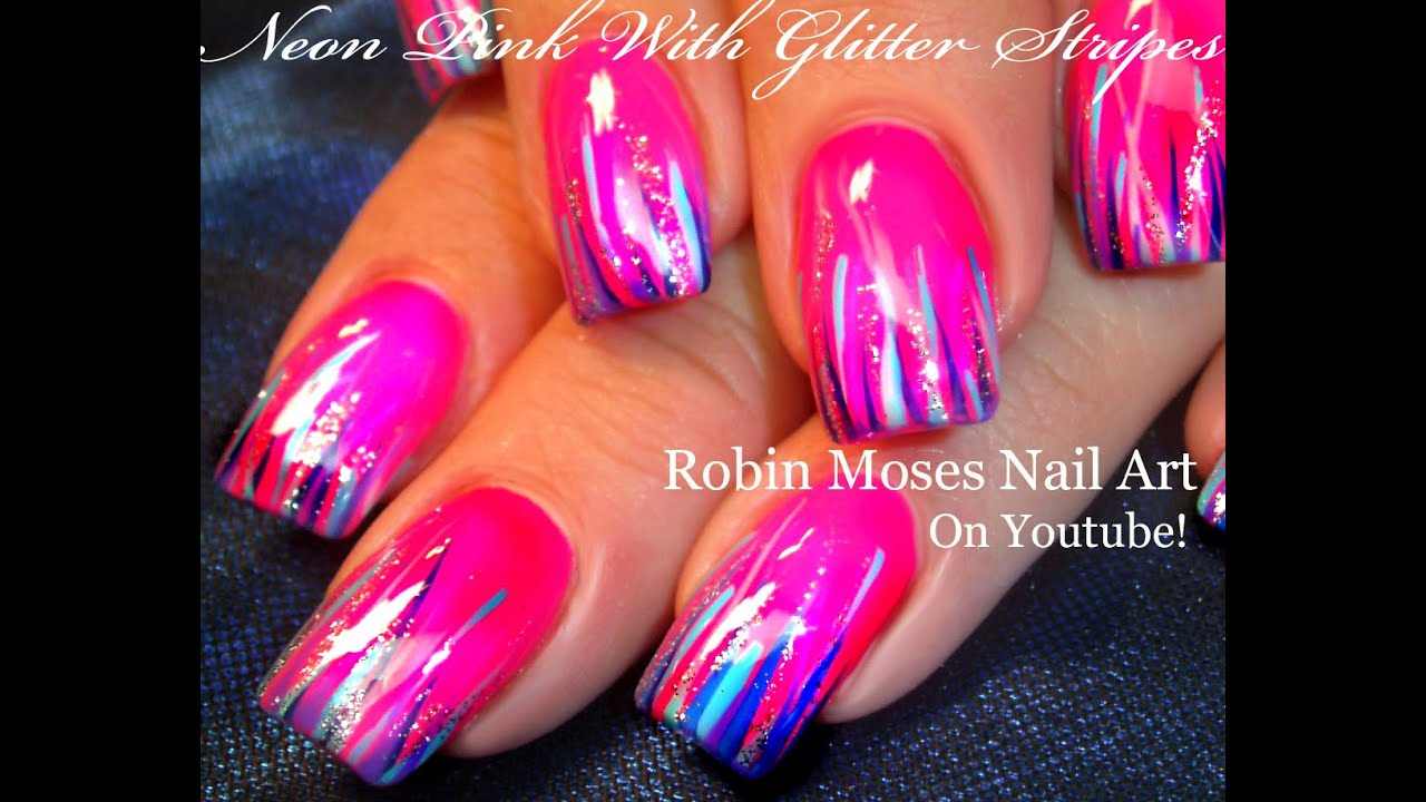 Easy Hot neon pink nails | Glitter STRIPED Nail Art Design Tutorial ...