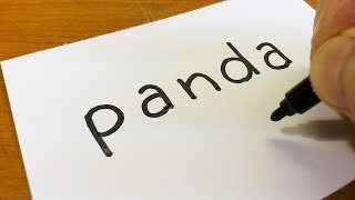 How to turn words PANDA into a Cartoon for kids -  Drawing doodle art on paper