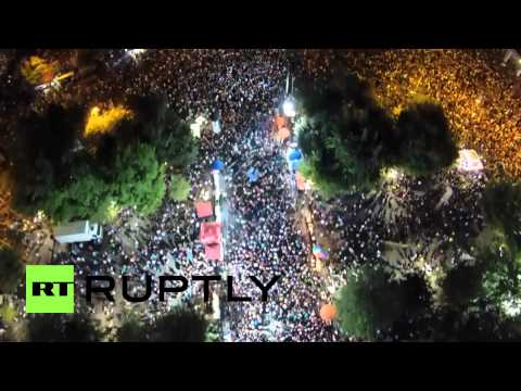 Greece: Drone soars over thousands of 'NO' protesters as referendum looms