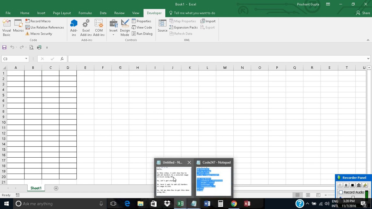 Add All Borders To A Selected Range In Excel Using Vba Youtube