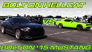 Bolt on Hellcat Challenger vs Bolt on '15 Coyote Mustang