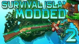 Minecraft: Modded Survival Island Let's Play w/Mitch! Ep. 2 - SHOOTING A GUN! Musket In Minecraft