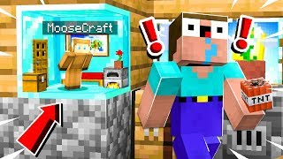 I FOUND A SECRET DIAMOND BASE INSIDE MY NOOB FRIENDS HOUSE in MINECRAFT!