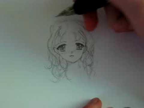 draw anime hair curly