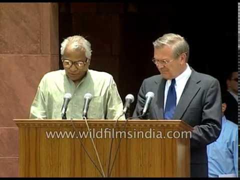 U.S. Defence Secretary Donald Rumsfeld in India in 2001