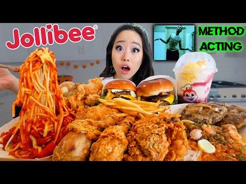 entire-jollibee-menu-(spicy-fried-chicken-+-spaghetti-+-burgers-+-noodles)-mukbang