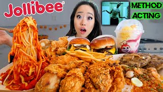 ENTIRE JOLLIBEE MENU (Spicy Fried Chicken + Spaghetti + Burgers + Noodles) MUKBANG