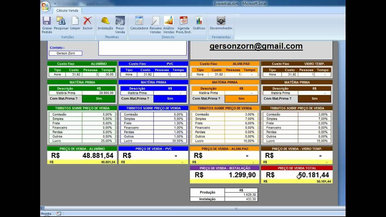 #BD760E Cálculo de Preço de Venda Esquadrias   1988 Janela De Aluminio Venda