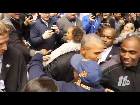 Barck Obama visits Duke for the Duke UNC game
