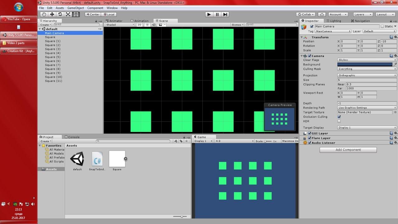 Unity 5 Snap to Grid Script