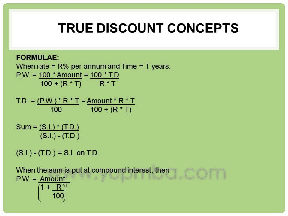 True Discount concepts and Formulas | yupmba.com - YouTube