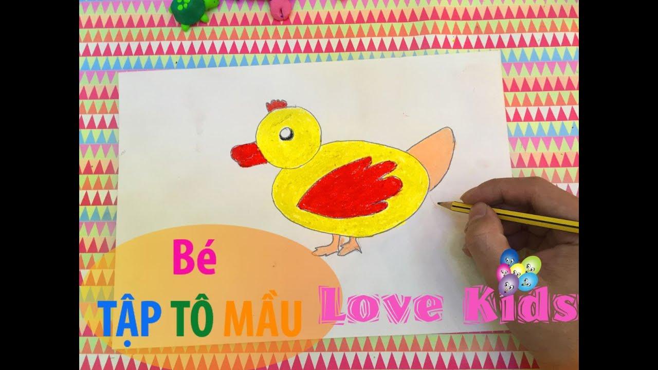 Bé tập tô mầu  | Tập Vẽ con vịt | How to draw duck