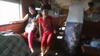 Jumping  Trainride Myanmar / Burma