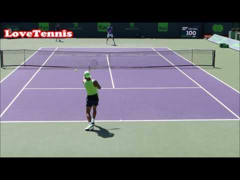 Rafael Nadal Training Miami 2017 - Court Level View