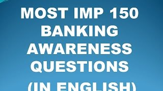 BANKING AWARENESS MOST IMP150 QUESTIONS PART 1(IN ENGLISH)