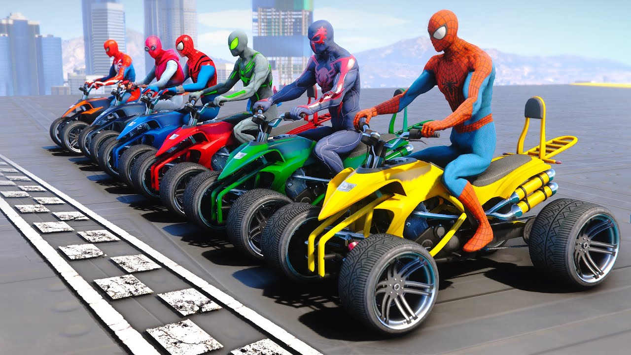 Spiderman Army With Street Blazer Race Challenge - GTA V MODS