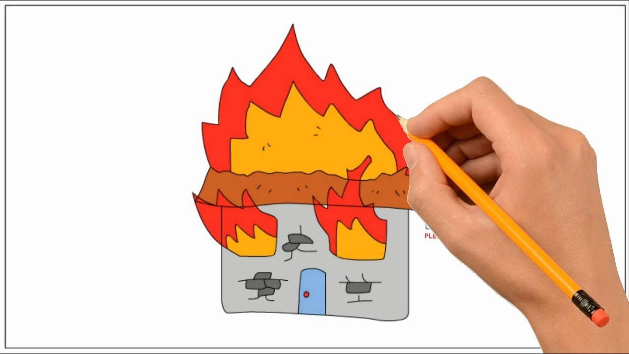 It is a photo of Vibrant Burning House Drawing
