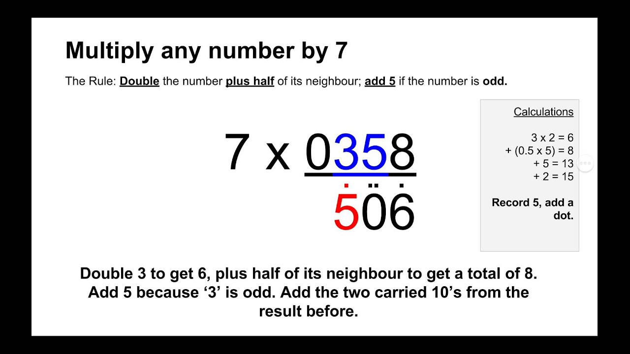 Trachtenberg System - Multiply by 7 Method (Be Faster than a Calculator!)
