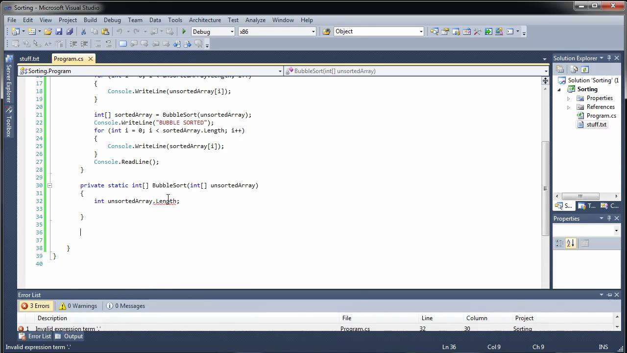 how to use bubblesort in visual studio