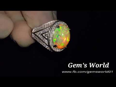Natural White fire Opal, 925 sterling silver ring, available for sale