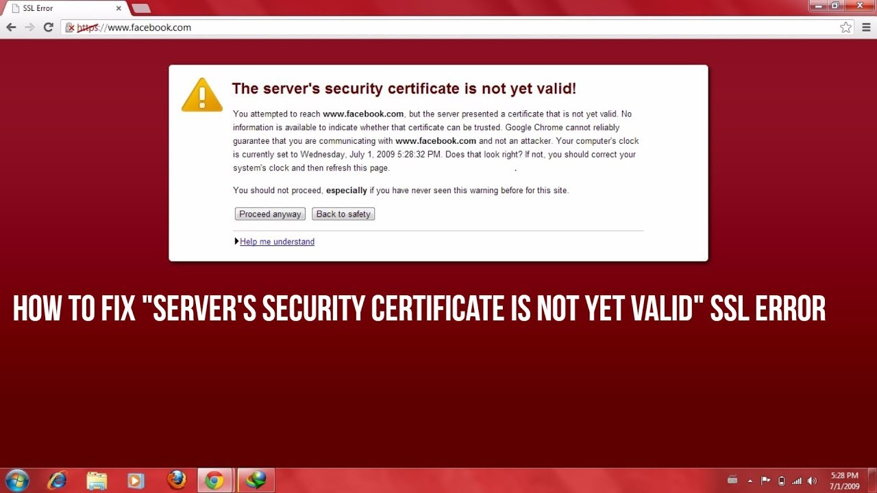 How to fix servers security certificate is not yet valid ssl how to fix servers security certificate is not yet valid ssl error xflitez Image collections