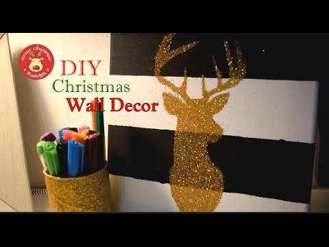 diy christmas wall decor reindeer canvas how to xmas decor youtube. Black Bedroom Furniture Sets. Home Design Ideas