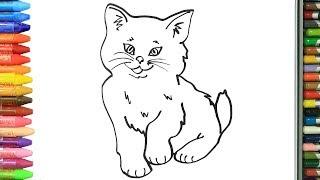 Как нарисовать милый кот | Раскраски детей HD | Рисование и окраска | Рисование для детей