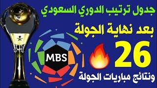 جدول ترتيب الدوري السعودي للمحترفين بعد نهاية الجولة 26 ونتائج مباريات الجولة 🔥 ترند اليوتيوب 2