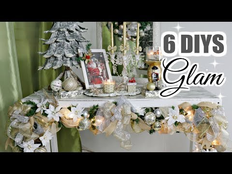 "🎄6 DIY DOLLAR TREE CHRISTMAS DECOR CRAFTS 2019🎄GLAM GARLAND ""I Love Christmas"" ep 12"