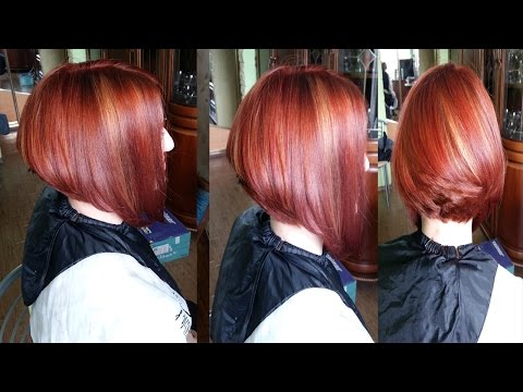 Стрижка градуированное каре из длинных волос БОБ.Техника колорирование волос