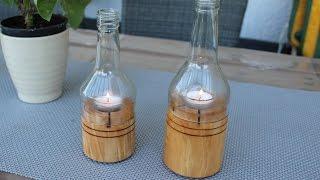 Windlicht aus Flasche 2 - Windlight bottle - DIY - Helmchen