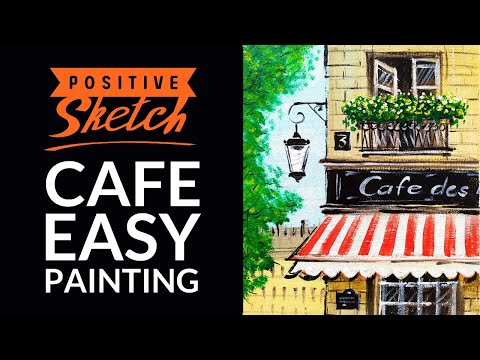 Acrylic painting tutorial, French Cafe, Easy painting tutorial for beginners
