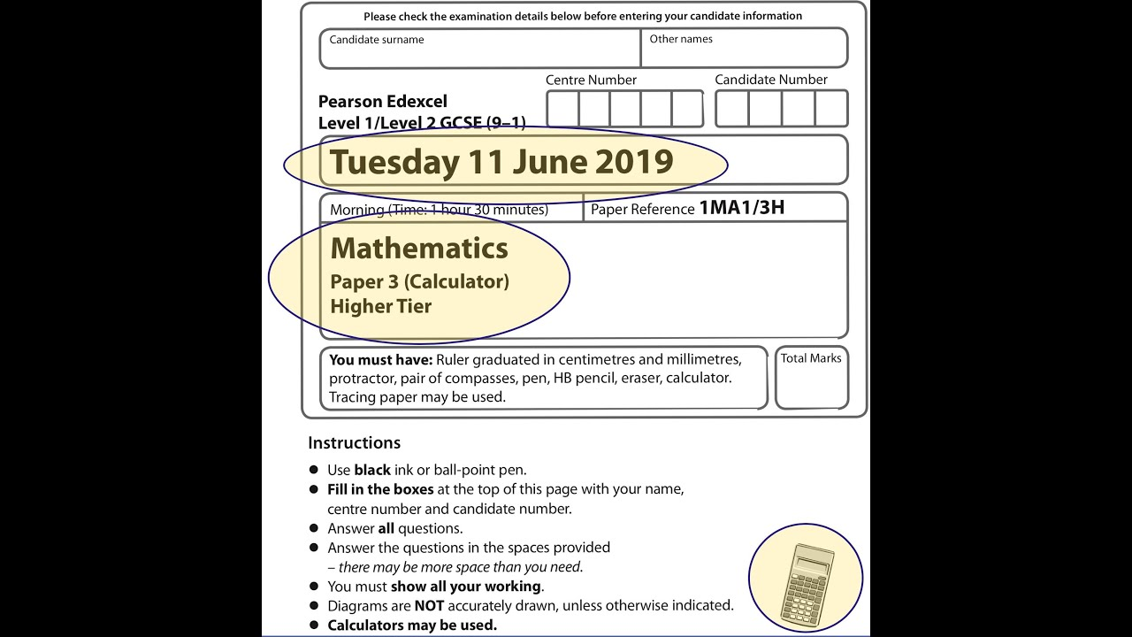 Edexcel Gcse Mathematics June 2019 Paper 3h Video Lessons Questions Step By Step Solutions