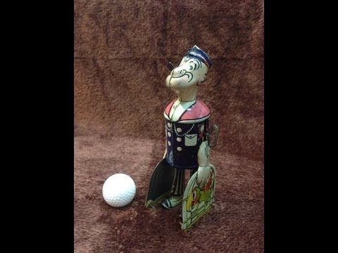 1932 Marx Walking Popeye with Parrot Cages Wind Up Tin Litho Toy
