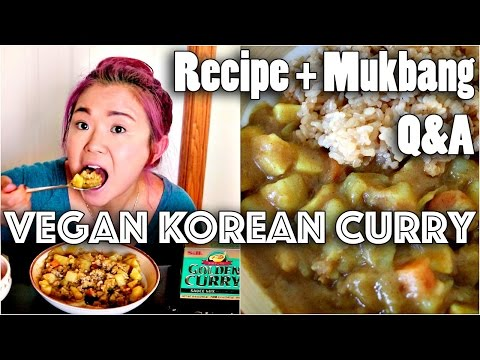 VEGAN KOREAN CURRY RICE RECIPE + MUKBANG (Q&A)