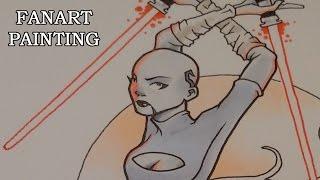 Star Wars Fanart - Asajj Ventress - Inking and Copic colouring