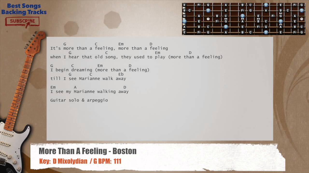 More Than A Feeling Boston Guitar Backing Track With Chords And