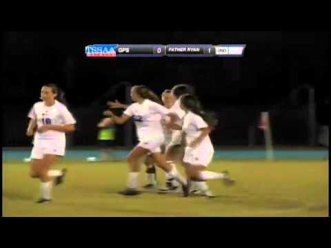 Sarah Bossung of Father Ryan scores goal in 2012 TSSAA Div II-AA state soccer final