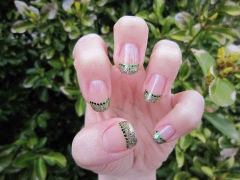 St. Patrick's Day Glitter French Manicure Nail Tutorial ...