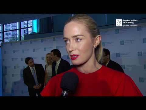 Emily Blunt red carpet interview at NYC Stuttering Gala (AIS)
