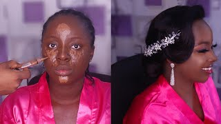 Bridal Makeup and Hair Transformation For Dark Skin - Black Women - Melanin Makeup