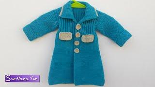 Пальто для девочки на 1 годик. Вязание спицами # 404