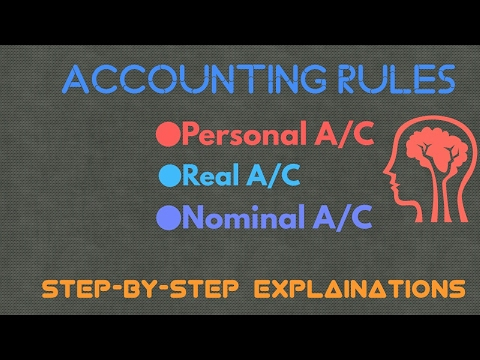 Accounting Rules----●Personal●Real●Nominal Accounts in hindi
