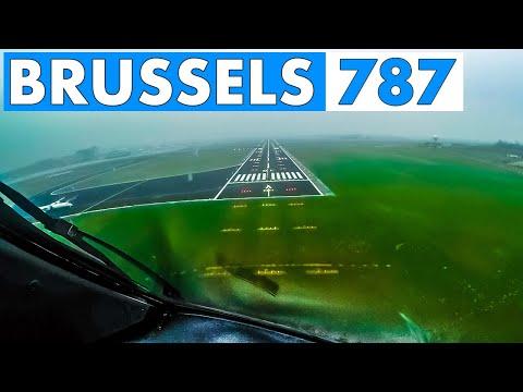 Pilotsview BOEING 787 AUTOLAND into Brussels