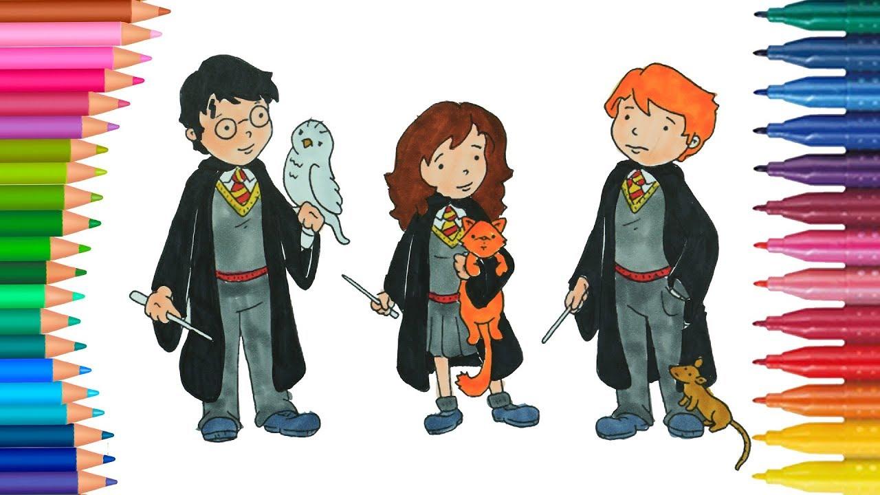 Harry Potter Ron E Hermione Per Bambini Come Disegnare E Colorare Piccole Mani Youtube
