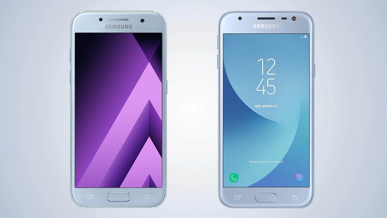 samsung galaxy a3 2017 vs galaxy j3 2017 comparison video youtube