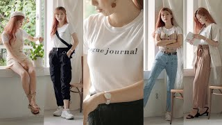 Various Summer Fashion with one T-shirt🌿 Doyeong